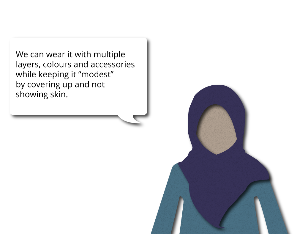 "We can wear it with multiple layers, colours and accessories while keeping it ""modest"" by covering up and not showing skin."