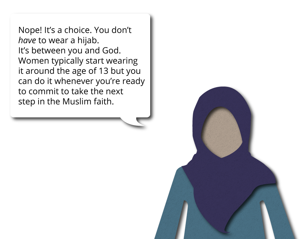 Nope! It's a choice. You don't have to wear a hijab. It's between you and God. Women typically start wearing it around the age of 13 but you can do it whenever you're ready to commit to take the next step in the Muslim faith.